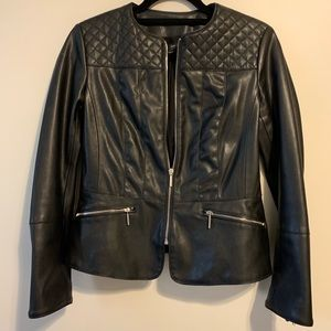Zara Quilted Peplum Black Faux Leather Jacket